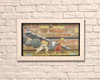 Industrial Streetfighter White Frame Brick Wall Graffiti Style Artwork. Art Steampunk & 3D Ceramic Brick Panels and Framed. UK MADE