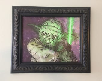 Yoda Digital Watercolor Art Giclee Limited Edition Canvas Panel Print - Art by Sarah Price