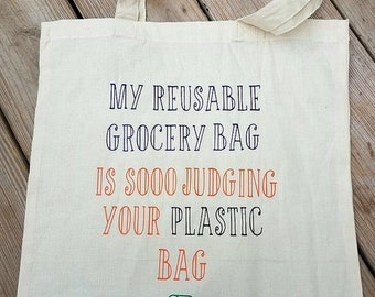 Funny reusable tote bag |  bag | Reusable grocery bag | Grocery bag | Tote bag