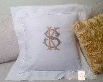 Monogrammed Pillow Sham, Square Pillow Sham, Linen Sham, Pillow Sham, Personalized Gift