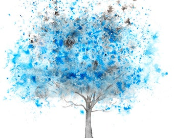 Fine Art Print of my Abstract Watercolour Tree Painting in Blue - available in sizes 7 x 5, 10 x 8, 12 x 10, 14 x 11, 16 x 12 and 20 x 16