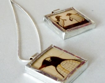 Penguin Necklace - Penguin Pendant - Valentine's Day Gift- Photo Pendant- NYC Pendant- Glass Pendants- Black and White Pendant-n