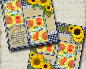 SUNFLOWERS - 2 Premade Scrapbook Pages - EZ Layout 108