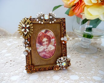 "Vintage Rhinestone Jewelry Picture Frame, Repurposed, Topaz Amber Colors, 3"" x 4"" OOAK"