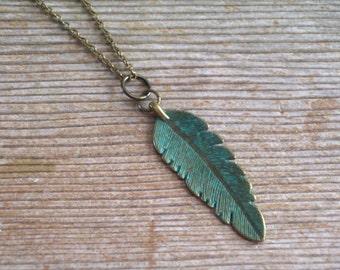 Verdigris Feather Necklace, Boho Unisex Pendant Necklace, Turquoise Feather, Bird Feather Pendant, Antiqued Brass Feather, Woodland Jewelry