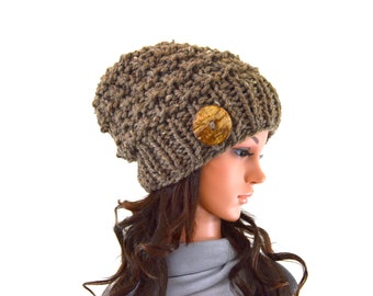Textured Knitted Chunky Buttoned Slouchy Hat Beanie Toque | The Barletta