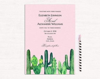 Cactus wedding invitation template Pink and green wedding Succulent invites diy Modern invitation printable Botanical wedding download 1W145