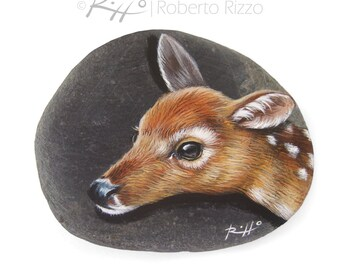 Unique Fawn's Head Hand Painted on A Flat Sea Pebble | Original Collectable Animal Art Faces by Roberto Rizzo