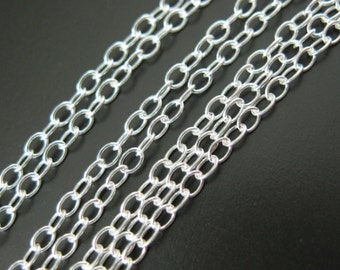 Wholesale Sterling Silver Chains. Unfinished Bulk Chain. 2mm Cable Oval Chain  (10 feet) Sku: 101020