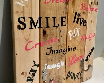Girly Wooden Sign with Hooks