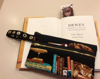 Golden Cats & Books wristlet purse