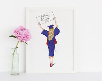 Graduate (Customize sign!) (Fashion Illustration Print -  Graduation Gift - Custom Graduation Gift -High School Graduation - Grad Gift)