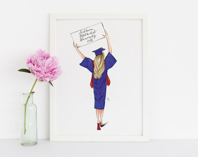 Featured listing image: Graduate (Customize sign!) (Fashion Illustration Print -  Graduation Gift - Custom Graduation Gift -High School Graduation - Grad Gift)