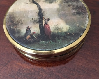 Vintage Compact with victorian scene