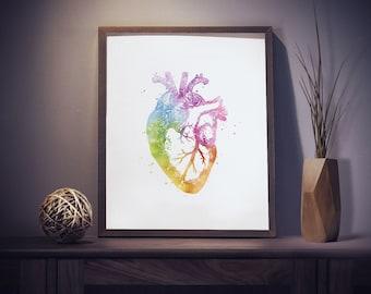 Watercolor Heart Anatomy Print - Anatomy Art - Watercolor Art - Medical Office Decor - Medical Student Gift - Watercolor Prints