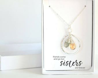 Sister Necklace - Gift for Sister from Sister - Personalized Birthday Unique Sister Gift Idea Sterling Silver Sister Necklace for 2 3 4 5 6