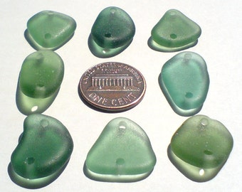 8 double drilled Genuine surf tumbled sea beach glass for jewelry 17-23 mm in length