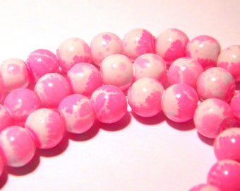 bright fuchsia - glass-6 mm glass Pearl bead - F143 - lacquered glass - 6 mm - 50 beads