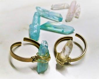 Crystal Ring, Boho Ring, Quartz Ring, Raw Stone Ring, Healing Ring, Aura Ring, Crystal Point Ring, Wirewrapped Ring, Adjustable Ring