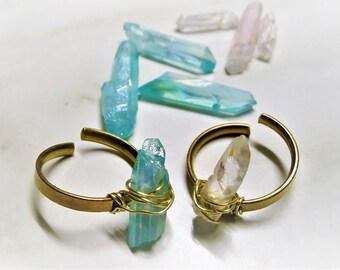 Crystal Ring, Boho Ring, Quartz Ring, Raw Stone Ring, Healing Ring, Aura Ring, Crystal Point Ring, Adjustable Crystal Ring, Bridesmaid Gift