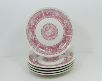 """Syracuse China Red and White Strawberry Hill Pattern Vintage Restaurant Ware China, 7.5"""" Lunch Dessert Plates, Set of 5, Shabby Cottage Chic"""