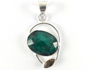 Rough Emerald Pendant 925 Sterling Silver FREE SHIPPING