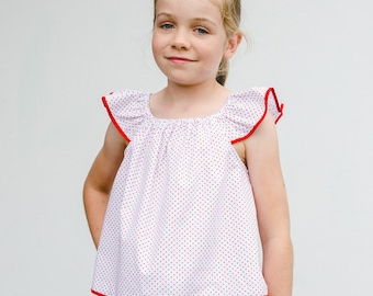 Flutter sleeve sewing pattern, Tilly Top & Dress girl's flutter top/dress  pdf sewing pattern to fit 1-10 years