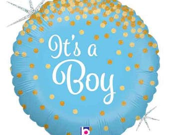"""It's A Boy Foil Balloon- 18"""" Holographic Balloon- Baby Shower Balloon-Gender Reveal Party Balloon"""