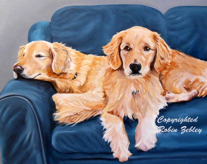 Golden Retriever Portrait Painting, Personalized from your Photos, Customized Oils on Canvas, artist Robin Zebley