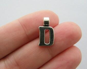 6 Letter D charms antique silver tone