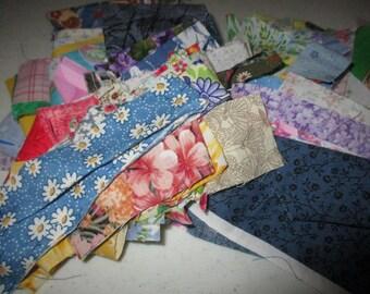 Cotton Fabric Scraps. 1 block -- U