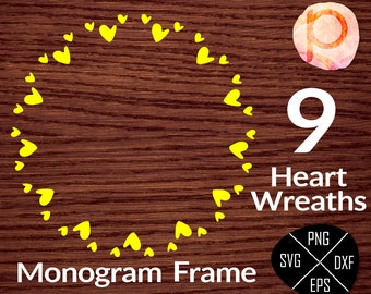 Heart Circle Monogram Frame SVG*Circle Monogram Frame svg,clipart,eps,dxf,png,jpeg*Cutting Files*Cricut*Silhouette Studio*Sure Cuts