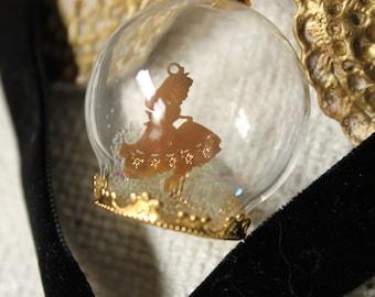 Alice in Wonderland White Rabbit Gold Silhouette in Snow Globe Velvet Choker Necklace
