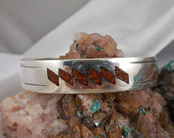 Vintage Sterling Silver Inlaid Cuff Bracelet