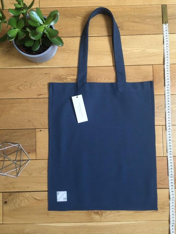 Heavy Blue woven cotton drill Tote Bag