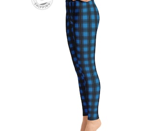 Blue & Black Plaid Leggings | Printed Leggings | Roller Derby Leggings | Dance Leggings | Pattern Leggings | Yogagear | Loopy Jayne