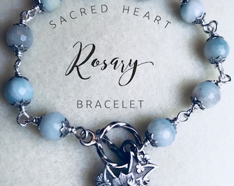Sacred Heart Bracelet, Wire Wrapped, sterling silver, 8mm faceted amazonite beads, catholic jewelery