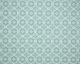 1950s Vintage Wallpaper by the Yard - Green and White Geometric