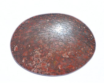 Large Oval Shaped Fossil Dinosaur Bone Cabochon, Petrified Dinosaur Bone, Brown, Red and Tan, 52 x 38mm, C1007