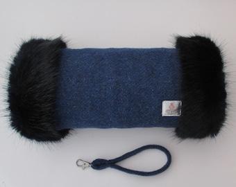 Harris Tweed Windsor Blue Hand Muff with Navy Faux Fur Trim