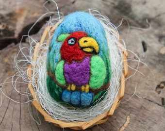 Easter Egg Felted Colorful Parrot Needle Felting Pure Wool, Easter Gift