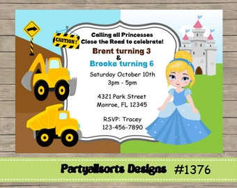DIY - Cinderella/Princess and Construction Childrens Party Invitations