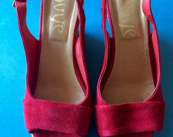 VINTAGE Fire Red SUEDE Wedges - 37/6.5