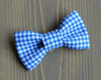 Blue and White Gingham Bow Tie for Pets, Dog, Cat Bowtie, Slide on Collar Accessory, Handmade in Canada, Collar NOT Included, Summer, Checks