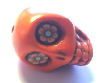Gigantic Orange Howlite Skull Bead or Pendant Wild Flower Eyes