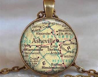 Asheville, North Carolina map necklace, Asheville map pendant, map jewelry Asheville necklace pendant key chain key ring key fob