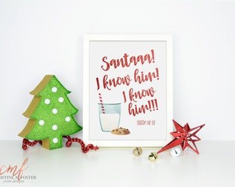 """Buddy the Elf Glitter Print - Watercolor """"Santaaa! I know him!"""" Quote Christmas Printable - Instant Download Art Print"""