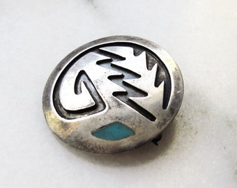 Sterling Silver HOPI Native American Turquoise Necklace Brooch Convertible