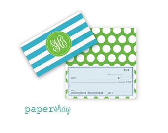 Checkbook Cover, STRIPES, Monogrammed Checkbook Cover, Personalized Checkbook Cover, Custom Checkbook Cover, Vinyl Checkbook Cover