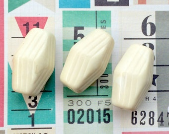 NOS White Decorative Lucite Beads (Qty 3) Large Focal Beads